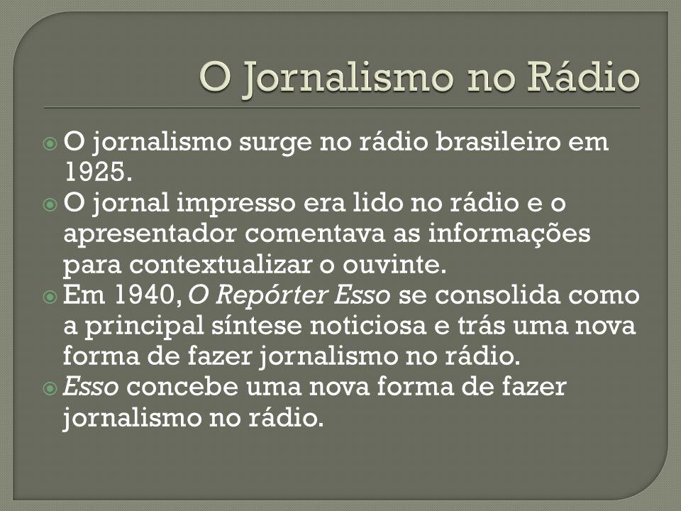 O Jornalismo no Rádio O jornalismo surge no rádio brasileiro em 1925.