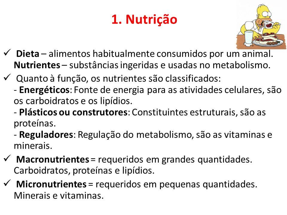 1. Nutrição Dieta – alimentos habitualmente consumidos por um animal. Nutrientes – substâncias ingeridas e usadas no metabolismo.