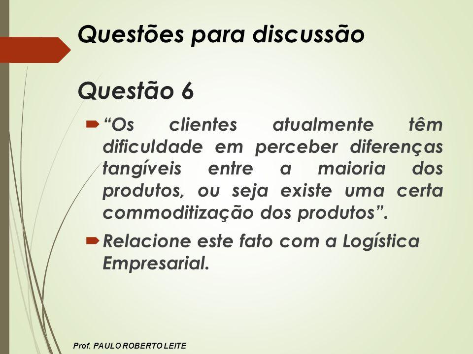 Questões para discussão Questão 6
