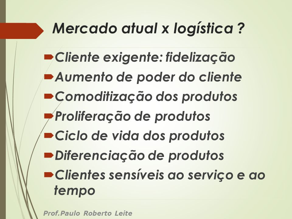 Mercado atual x logística