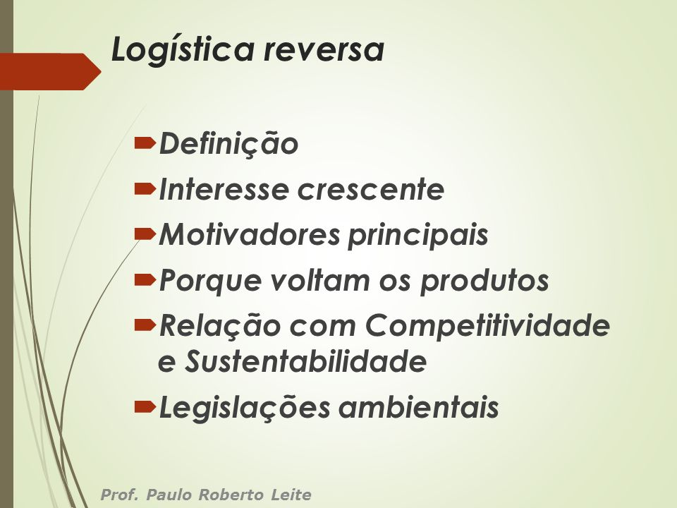 Logística reversa Definição Interesse crescente Motivadores principais