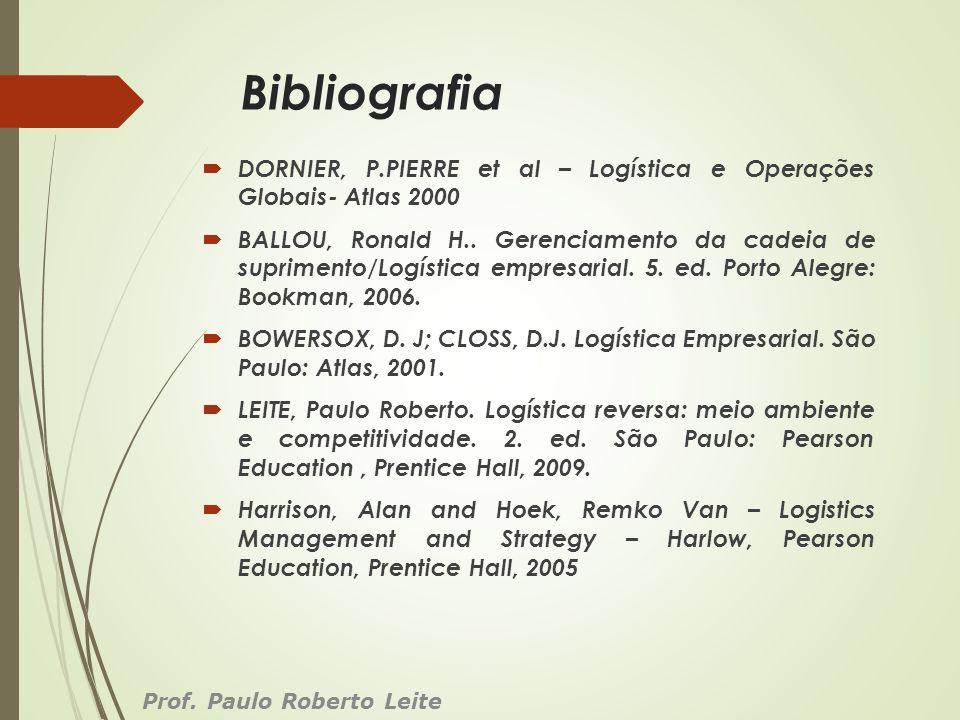 Bibliografia DORNIER, P.PIERRE et al – Logística e Operações Globais- Atlas 2000.