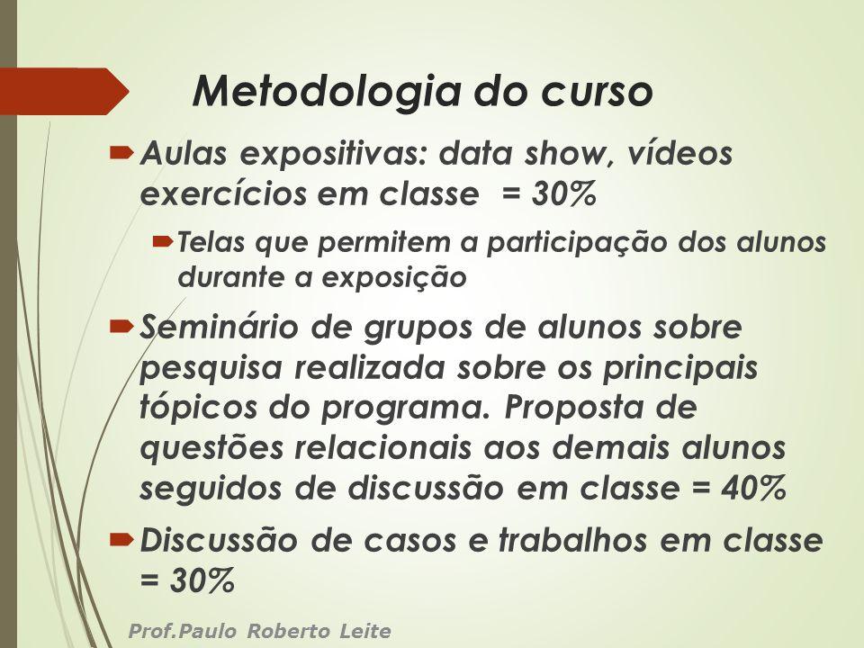Metodologia do curso Aulas expositivas: data show, vídeos exercícios em classe = 30%
