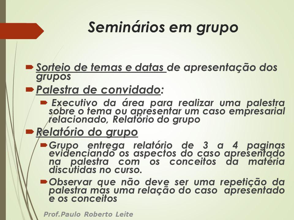 Seminários em grupo Palestra de convidado: Relatório do grupo