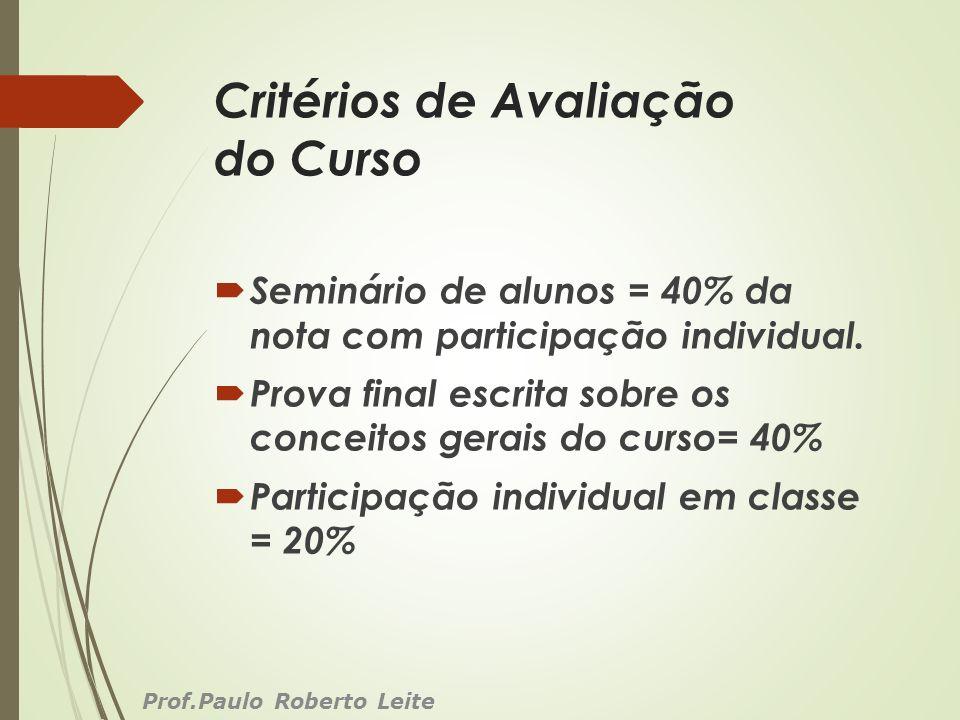 Critérios de Avaliação do Curso