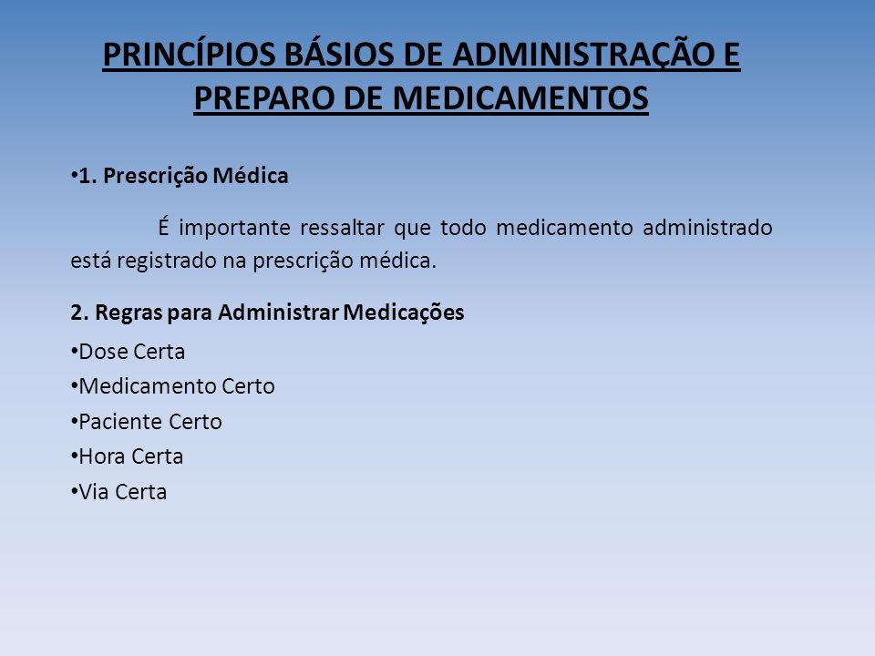 PRINCÍPIOS BÁSIOS DE ADMINISTRAÇÃO E PREPARO DE MEDICAMENTOS