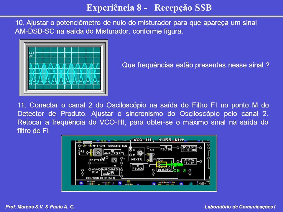 10. Ajustar o potenciômetro de nulo do misturador para que apareça um sinal AM-DSB-SC na saída do Misturador, conforme figura: