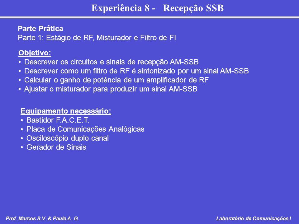 Parte Prática Parte 1: Estágio de RF, Misturador e Filtro de FI. Objetivo: Descrever os circuitos e sinais de recepção AM-SSB.