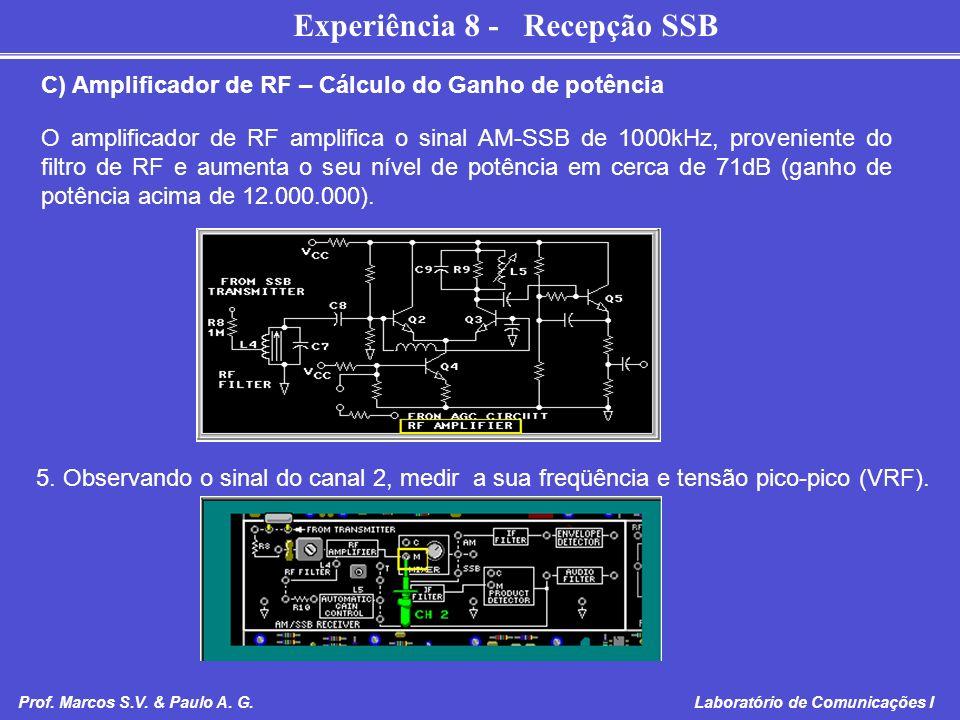 C) Amplificador de RF – Cálculo do Ganho de potência