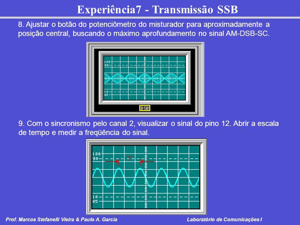 8. Ajustar o botão do potenciômetro do misturador para aproximadamente a posição central, buscando o máximo aprofundamento no sinal AM-DSB-SC.