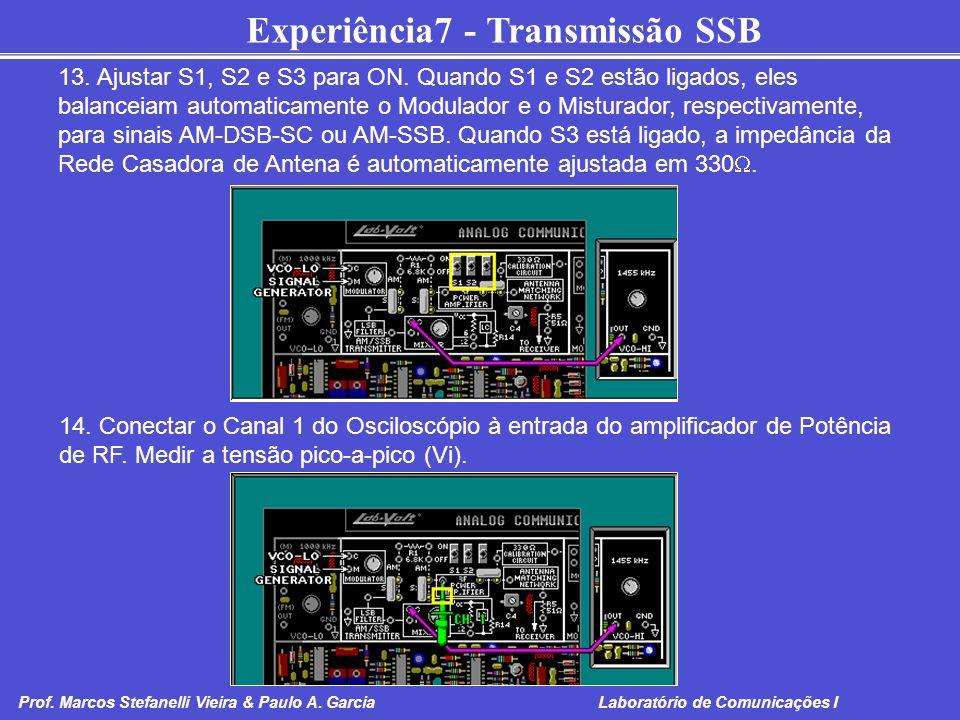 13. Ajustar S1, S2 e S3 para ON. Quando S1 e S2 estão ligados, eles balanceiam automaticamente o Modulador e o Misturador, respectivamente, para sinais AM-DSB-SC ou AM-SSB. Quando S3 está ligado, a impedância da Rede Casadora de Antena é automaticamente ajustada em 330.