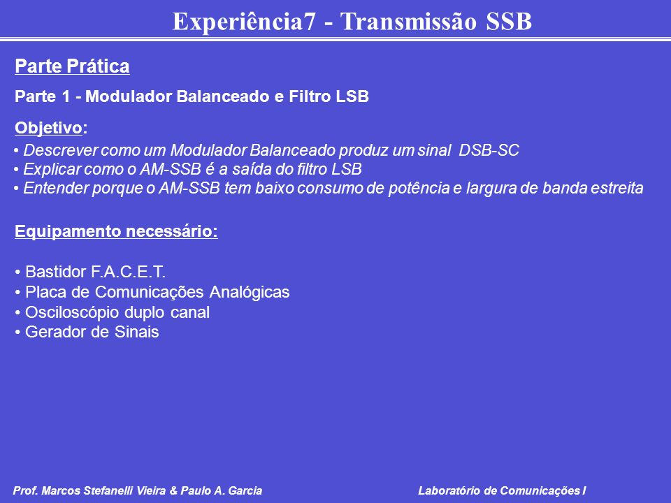 Parte Prática Parte 1 - Modulador Balanceado e Filtro LSB Objetivo: