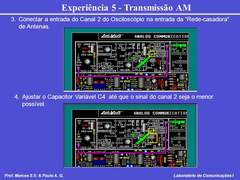 3. Conectar a entrada do Canal 2 do Osciloscópio na entrada da Rede-casadora de Antenas.