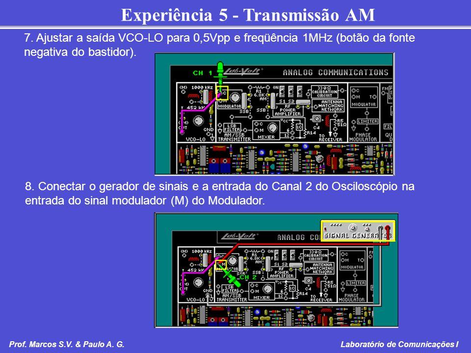 7. Ajustar a saída VCO-LO para 0,5Vpp e freqüência 1MHz (botão da fonte negativa do bastidor).