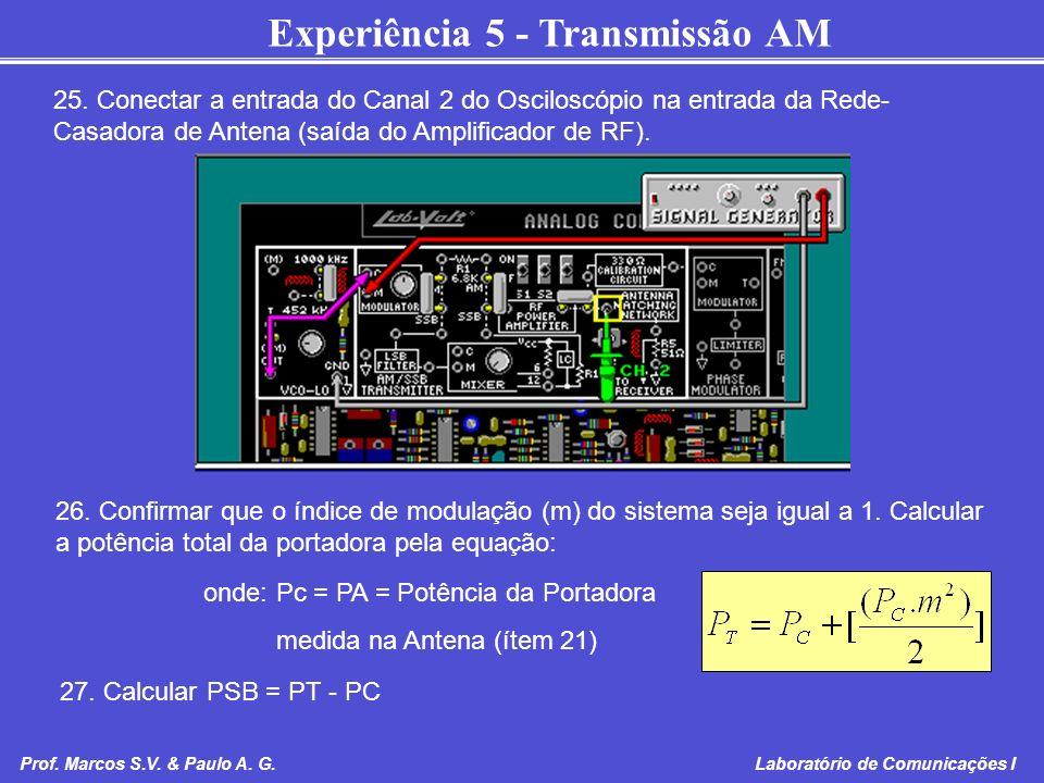 25. Conectar a entrada do Canal 2 do Osciloscópio na entrada da Rede-Casadora de Antena (saída do Amplificador de RF).