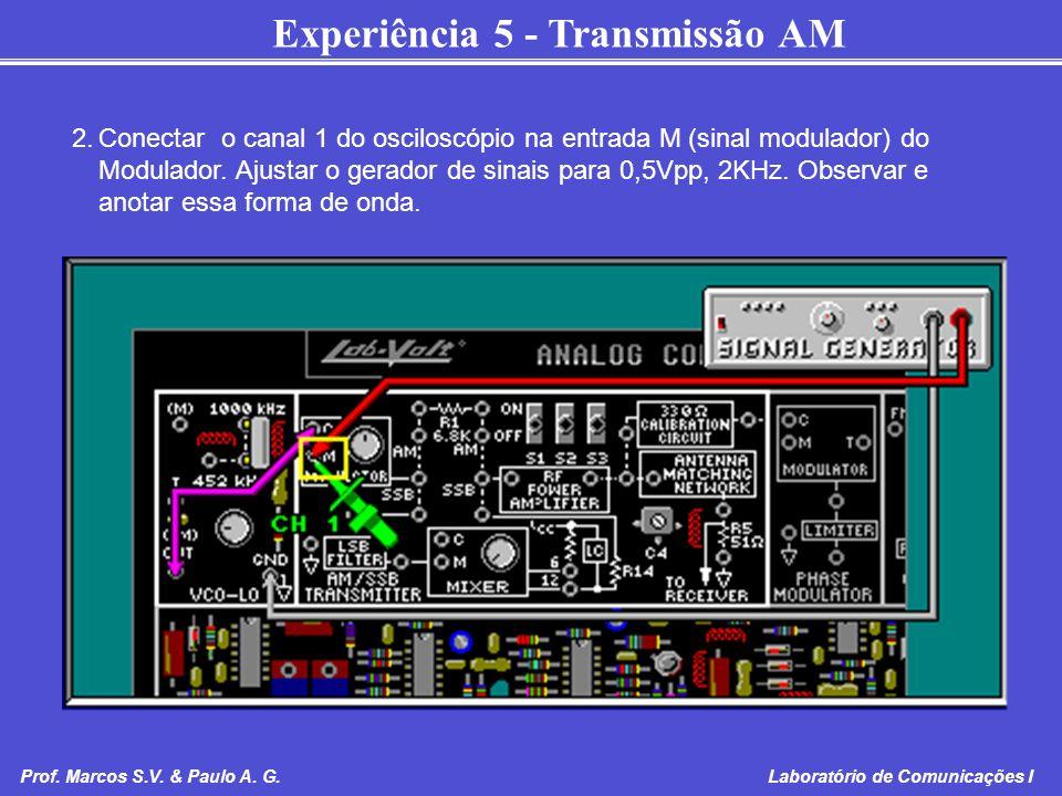 2. Conectar o canal 1 do osciloscópio na entrada M (sinal modulador) do Modulador.