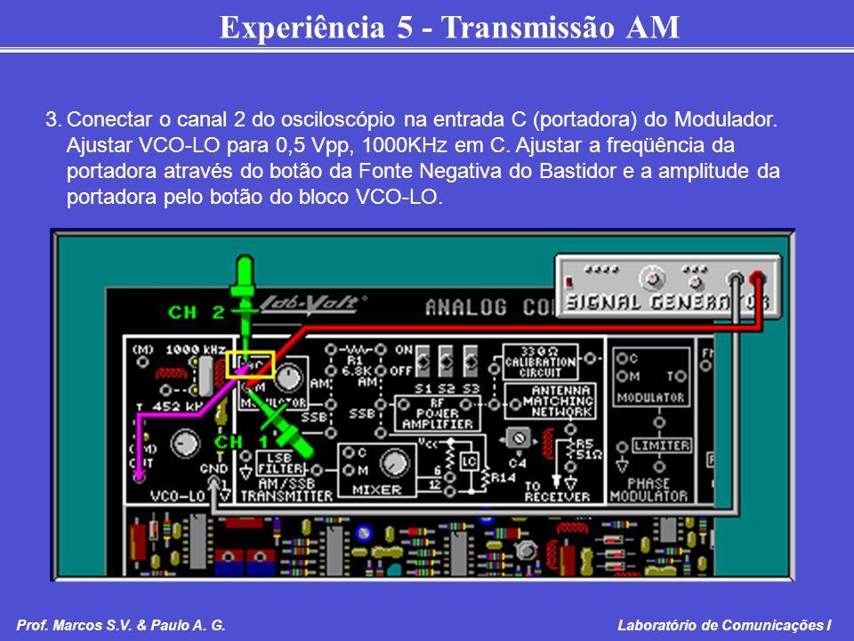 3. Conectar o canal 2 do osciloscópio na entrada C (portadora) do Modulador.