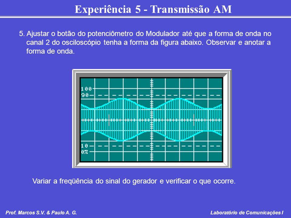 5. Ajustar o botão do potenciômetro do Modulador até que a forma de onda no canal 2 do osciloscópio tenha a forma da figura abaixo. Observar e anotar a forma de onda.