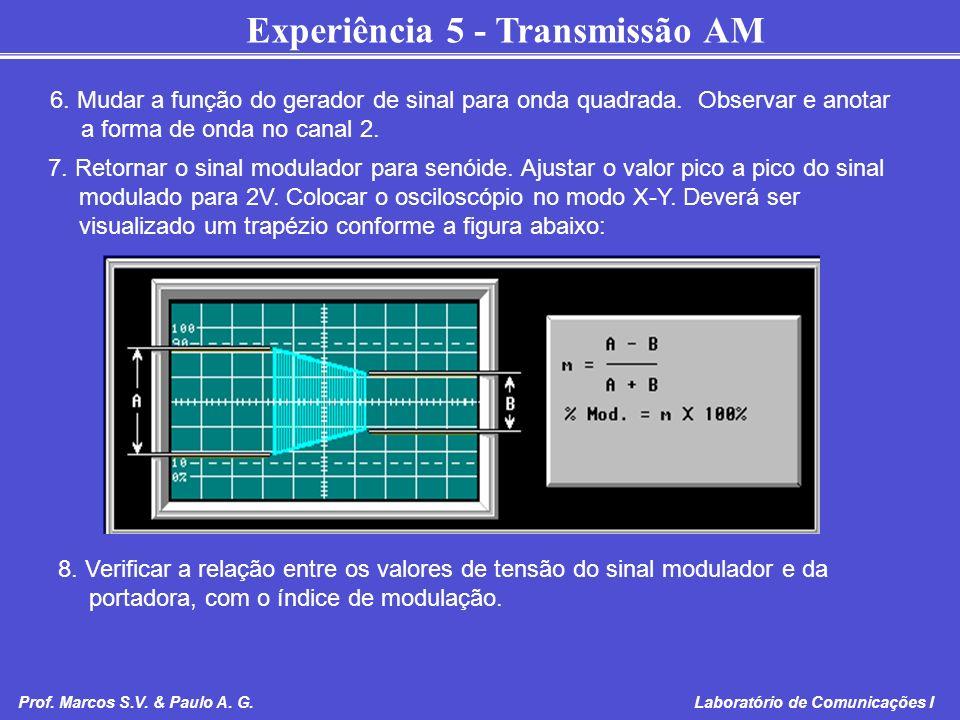 6. Mudar a função do gerador de sinal para onda quadrada