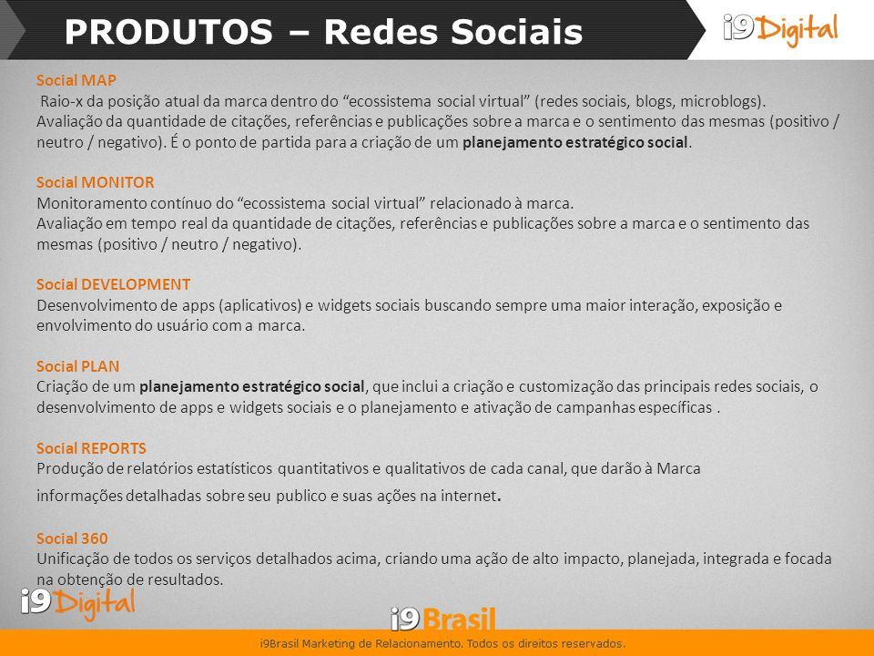 PRODUTOS – Redes Sociais