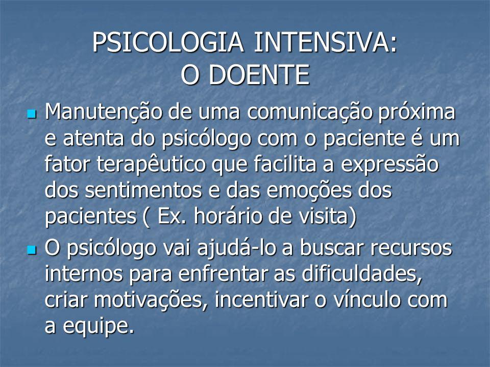 PSICOLOGIA INTENSIVA: O DOENTE