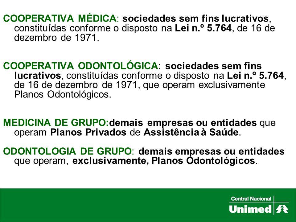 COOPERATIVA MÉDICA: sociedades sem fins lucrativos, constituídas conforme o disposto na Lei n.º 5.764, de 16 de dezembro de 1971.