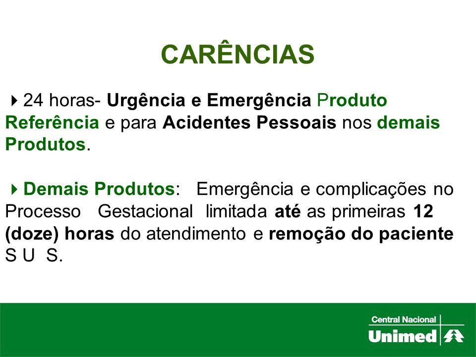 CARÊNCIAS 24 horas- Urgência e Emergência Produto Referência e para Acidentes Pessoais nos demais Produtos.