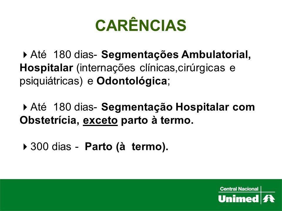 CARÊNCIASAté 180 dias- Segmentações Ambulatorial, Hospitalar (internações clínicas,cirúrgicas e psiquiátricas) e Odontológica;