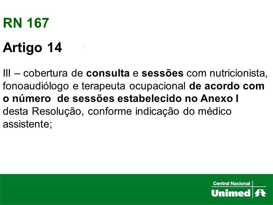 RN 167 Artigo 14. III – cobertura de consulta e sessões com nutricionista, fonoaudiólogo e terapeuta ocupacional de acordo com.