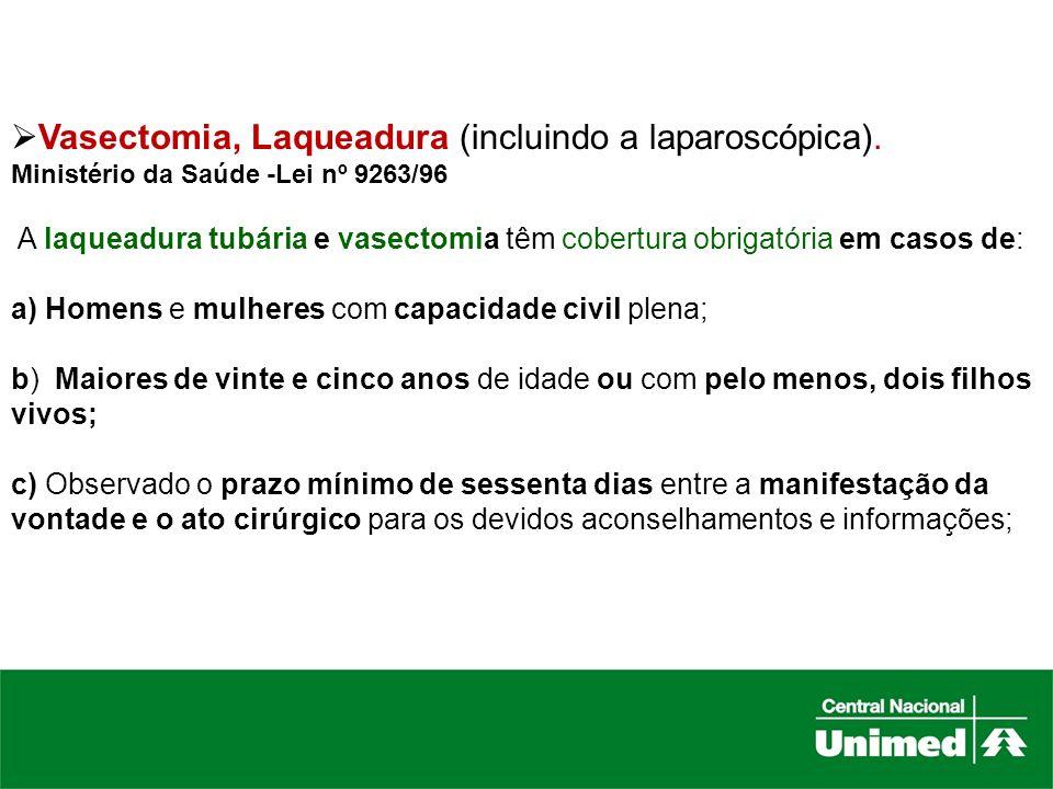 Vasectomia, Laqueadura (incluindo a laparoscópica).