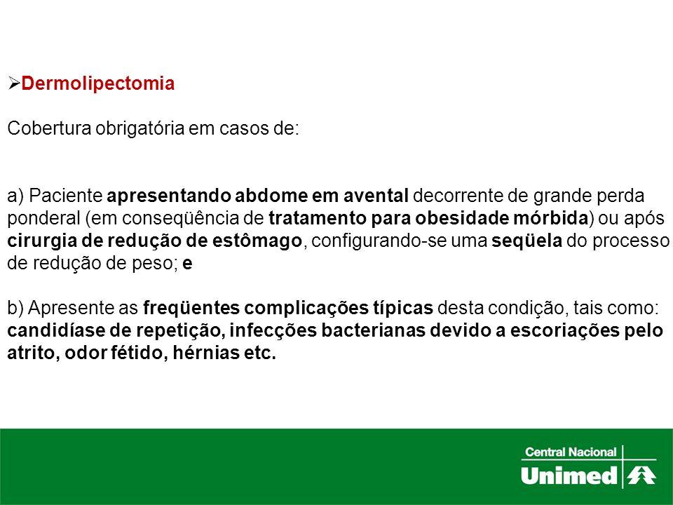 DermolipectomiaCobertura obrigatória em casos de: a) Paciente apresentando abdome em avental decorrente de grande perda.