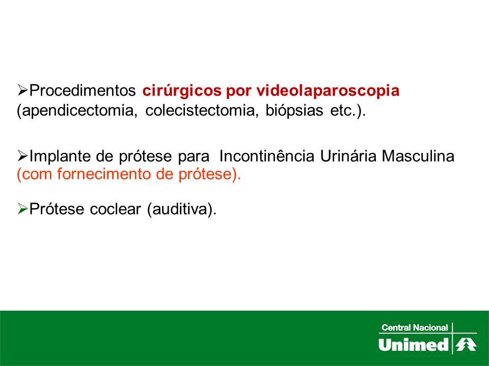 Procedimentos cirúrgicos por videolaparoscopia (apendicectomia, colecistectomia, biópsias etc.).