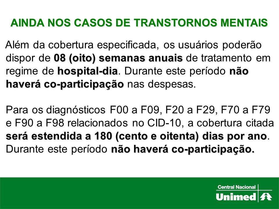 AINDA NOS CASOS DE TRANSTORNOS MENTAIS