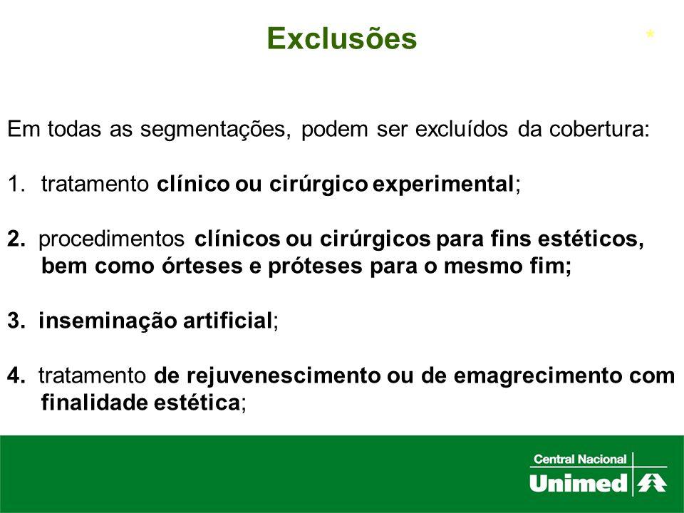 ExclusõesEm todas as segmentações, podem ser excluídos da cobertura: tratamento clínico ou cirúrgico experimental;