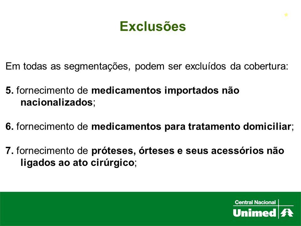 * Exclusões. Em todas as segmentações, podem ser excluídos da cobertura: 5. fornecimento de medicamentos importados não nacionalizados;