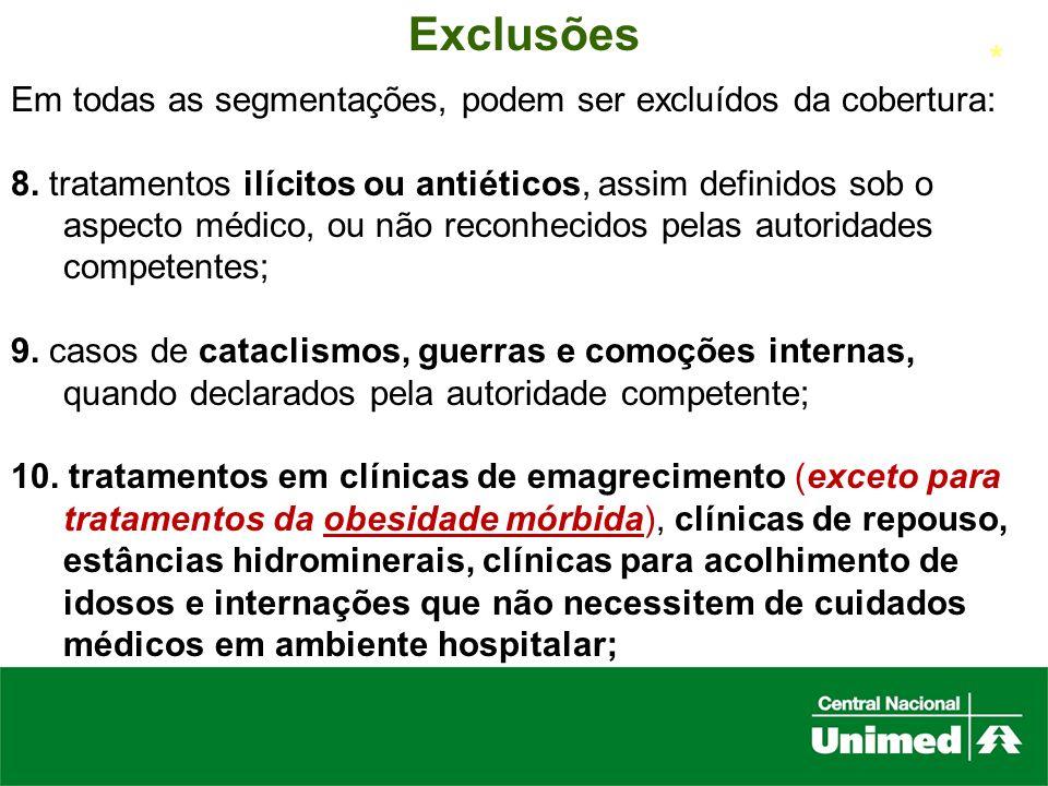 Exclusões Em todas as segmentações, podem ser excluídos da cobertura: