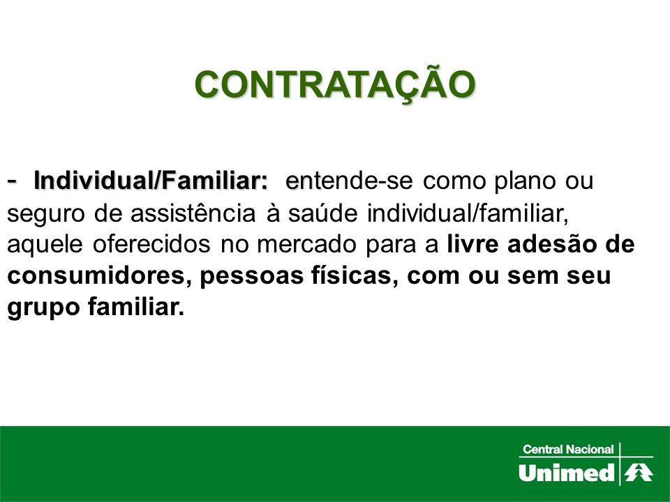 CONTRATAÇÃO Individual/Familiar: entende-se como plano ou seguro de assistência à saúde individual/familiar,