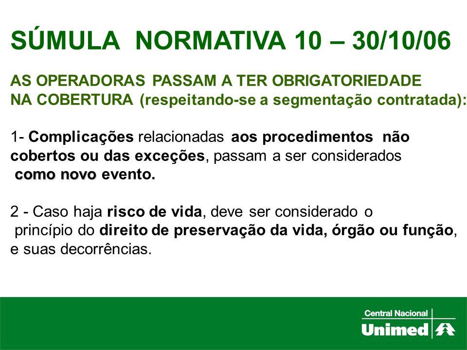 SÚMULA NORMATIVA 10 – 30/10/06AS OPERADORAS PASSAM A TER OBRIGATORIEDADE. NA COBERTURA (respeitando-se a segmentação contratada):