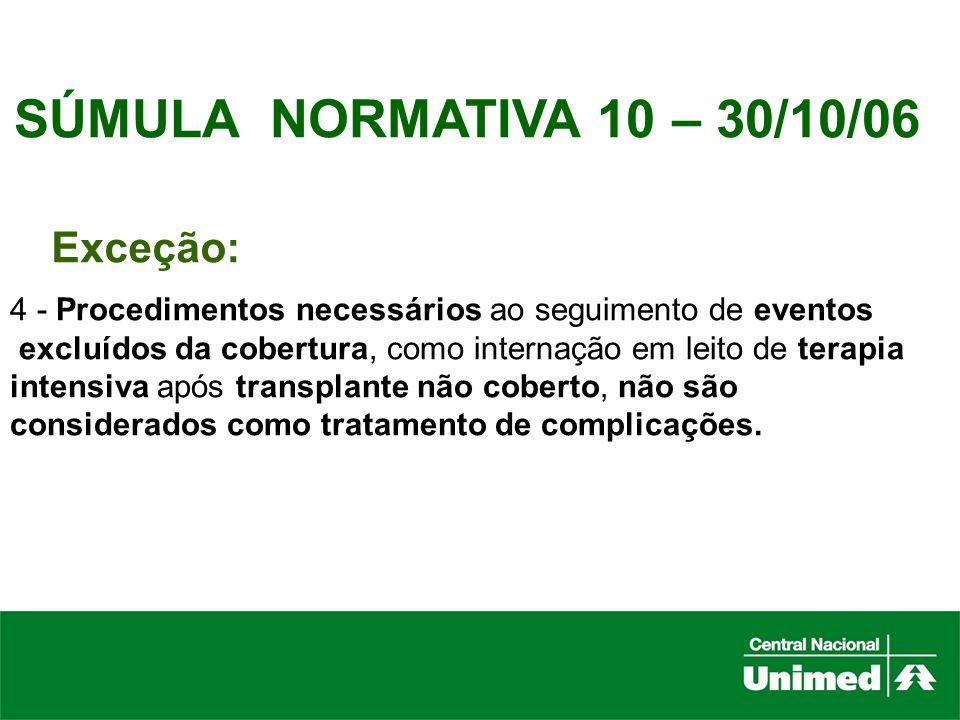SÚMULA NORMATIVA 10 – 30/10/06 Exceção: