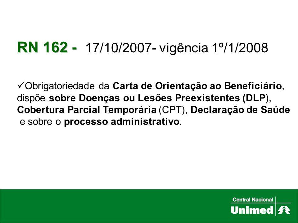 RN 162 - 17/10/2007- vigência 1º/1/2008Obrigatoriedade da Carta de Orientação ao Beneficiário, dispõe sobre Doenças ou Lesões Preexistentes (DLP),