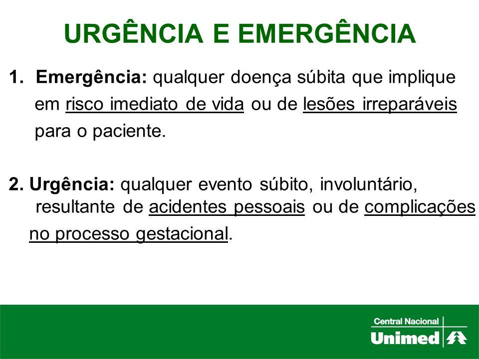 URGÊNCIA E EMERGÊNCIA Emergência: qualquer doença súbita que implique