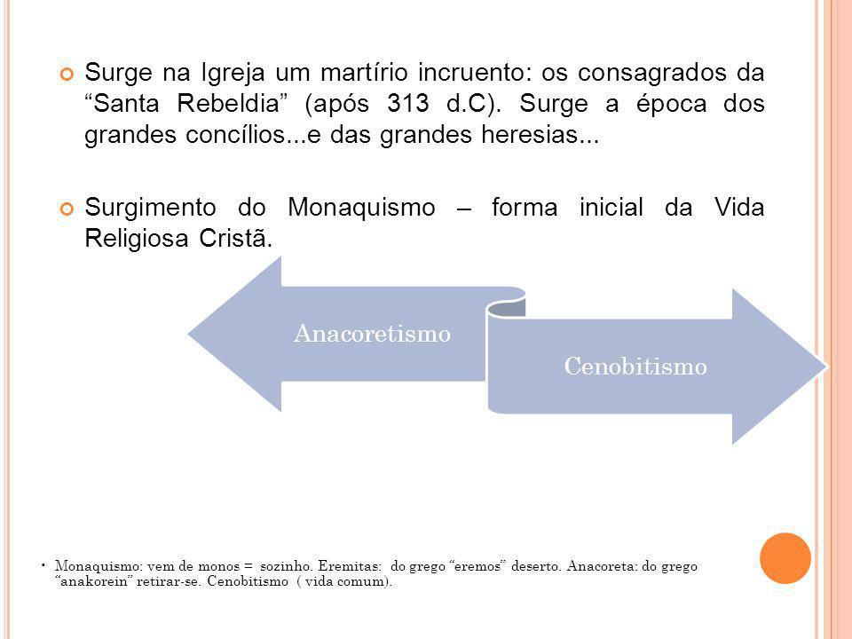 Surgimento do Monaquismo – forma inicial da Vida Religiosa Cristã.