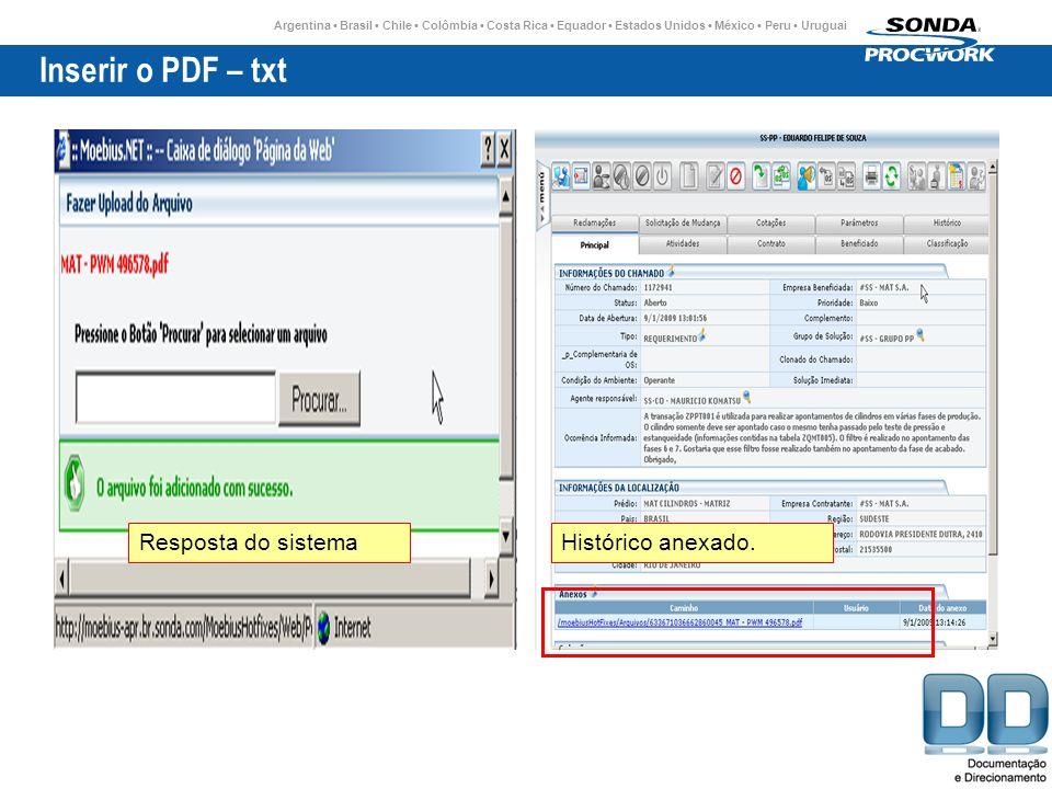 Inserir o PDF – txt Resposta do sistema Histórico anexado.