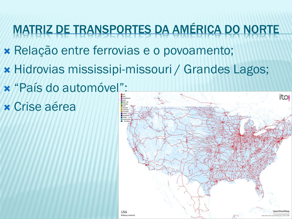 Matriz de transportes da américa do norte