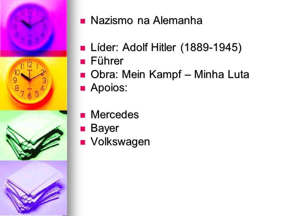 Nazismo na Alemanha Líder: Adolf Hitler (1889-1945) Führer. Obra: Mein Kampf – Minha Luta. Apoios: