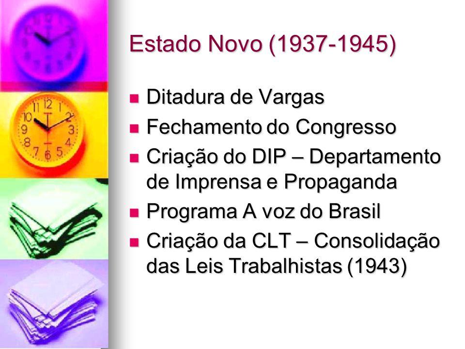 Estado Novo (1937-1945) Ditadura de Vargas Fechamento do Congresso