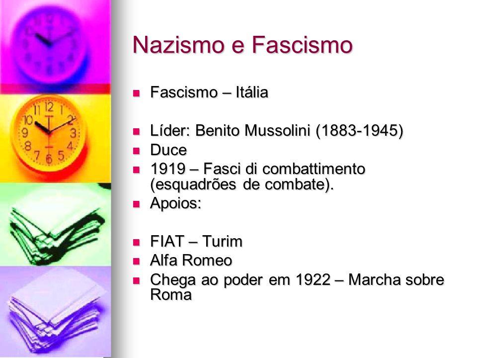Nazismo e Fascismo Fascismo – Itália
