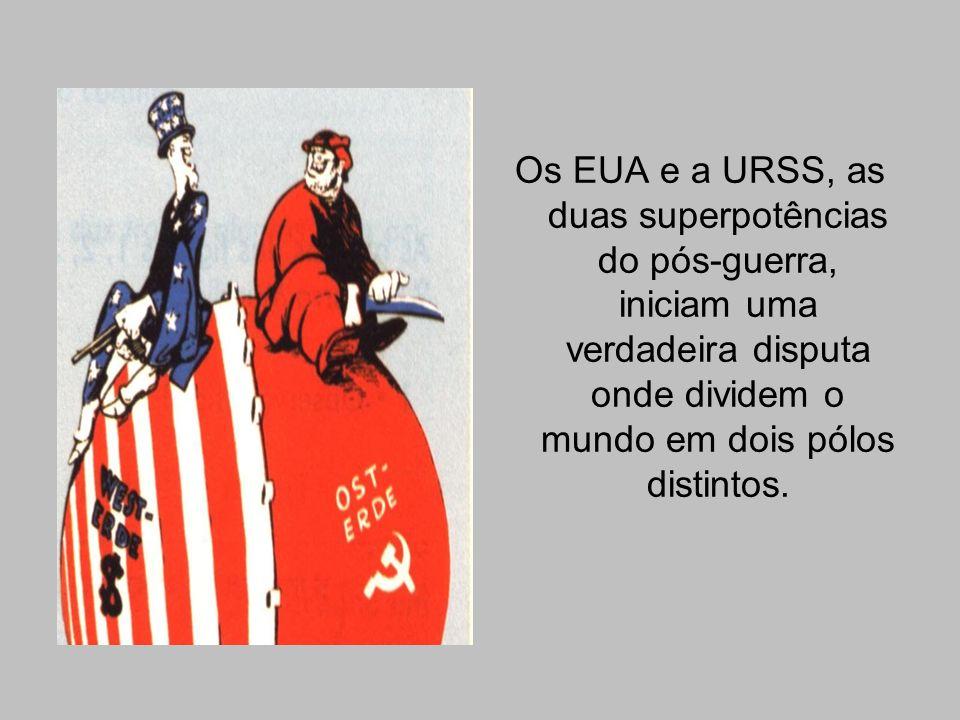 Os EUA e a URSS, as duas superpotências do pós-guerra, iniciam uma verdadeira disputa onde dividem o mundo em dois pólos distintos.