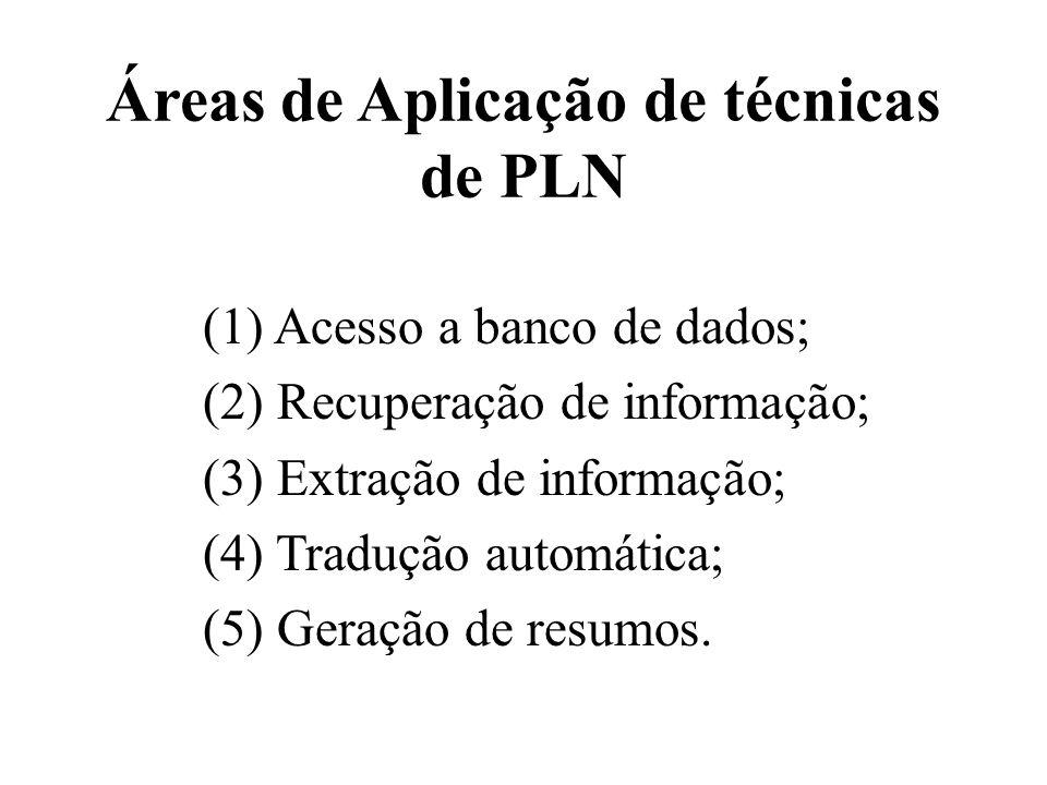 Áreas de Aplicação de técnicas de PLN