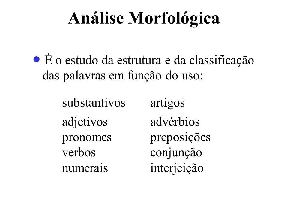 Análise Morfológica substantivos artigos adjetivos advérbios